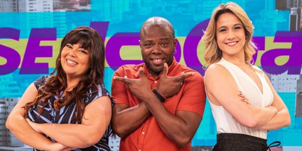Fabiana Karla, Érico Brás e Fernanda Gentil no Se Joga (Foto: Divulgação/Globo)