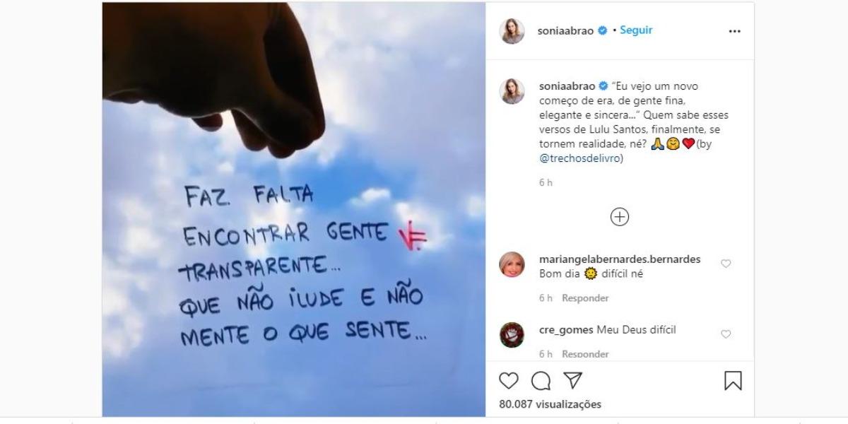 Sonia Abrão fez publicação enigmática em suas redes sociais (Foto: Reprodução/Instagram)