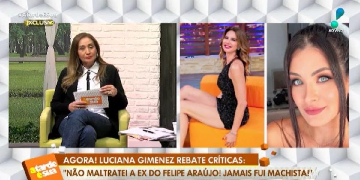 Sonia Abrão convocou Luciana Gimenez para se defender de polêmica com Carol Marchezi, ex de Felipe Araújo (Foto: Reprodução/RedeTV!)