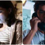 Fotomontagem de Keyla e Tato da novela Malhação com celular e telefones na mão