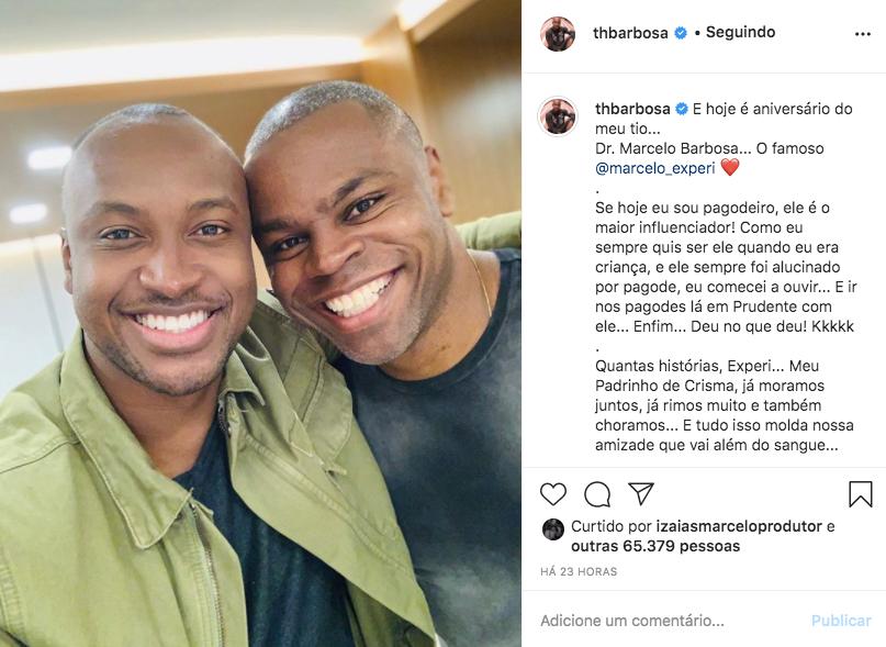 Thiaguinho se declarou para um ente querido (Foto: reprodução/Instagram)