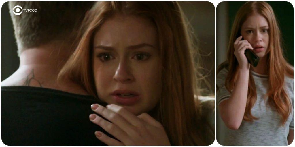 Fotomontagem de Eliza, protagonista da novela Totalmente Demais, abraçada a Arthur de costas e ela com celular em uma das mãos