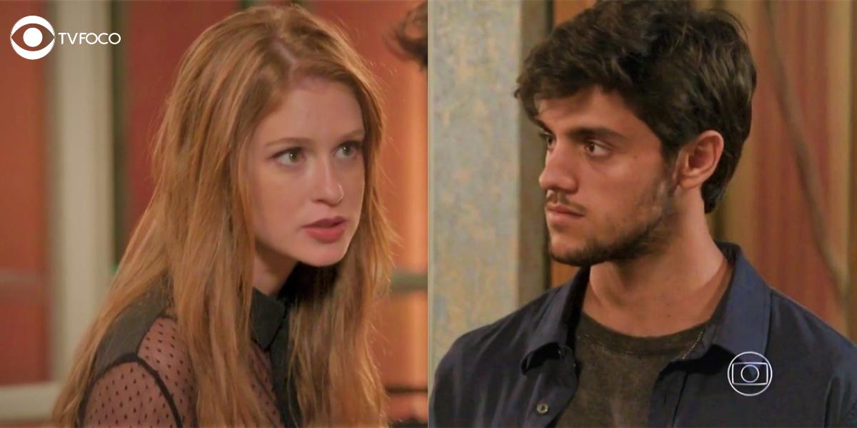 Foto montagem de Eliza e Jonatas em cena da novela Totalmente Demais