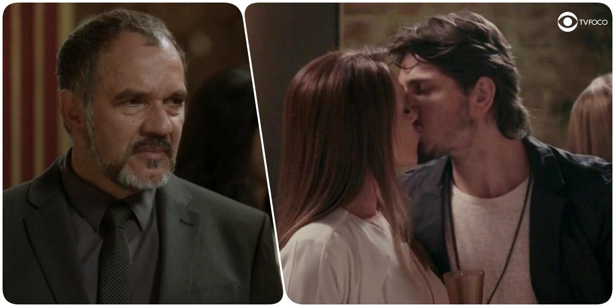 Foto montagem que Germano, homem de barba grisalha, usa terno e gravata escuros, observa Rafael e Lili se beijaram em Totalmente Demais