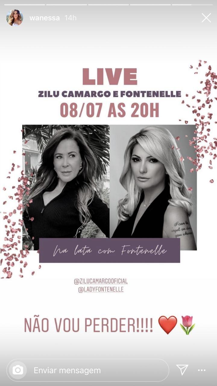 Wanessa compartilhou o anúncio da transmissão ao vivo de Zilu (Foto: reprodução/Instagram)