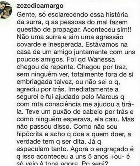 Zezé comentou sobre a briga de Graciele e Wanessa (Foto: reprodução)