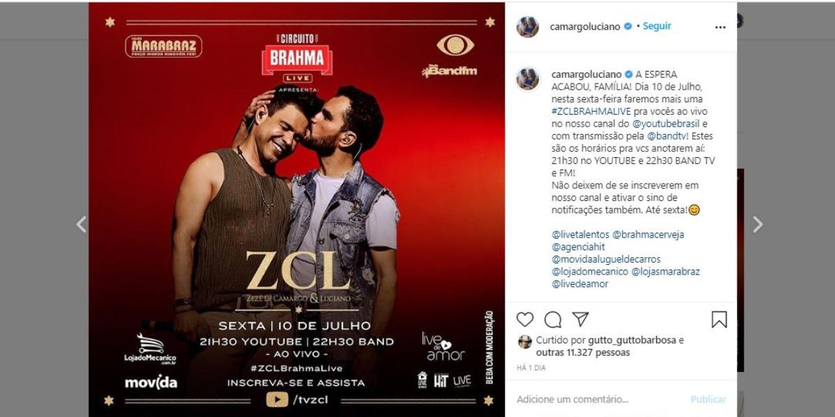 Zezé Di Camargo e Luciano farão nova live no fim de semana (Foto: Reprodução/Instagram)