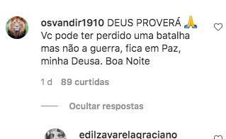 Comentário no Instagram de Zilu (Foto: Reprodução)