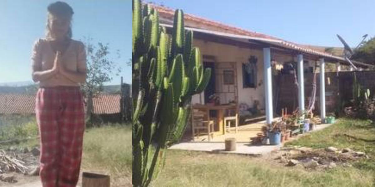 Aretha Marcos e sua casa no sítio (Foto: Montagem)