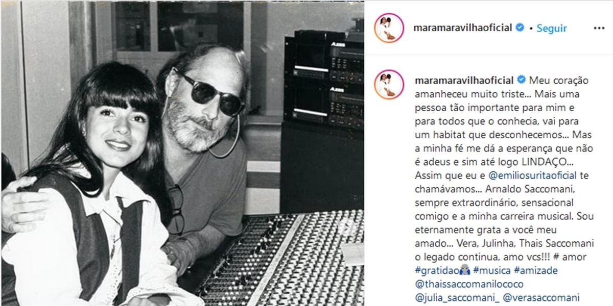Publicação de Mara Maravilha lamentando a morte de Arnaldo Saccomani (Foto: Reprodução)