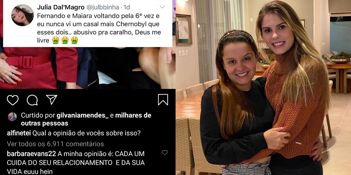 Bárbara Evans defende namoro de amigos Maiara e Fernando Zor (Foto: Reprodução/Instagram)