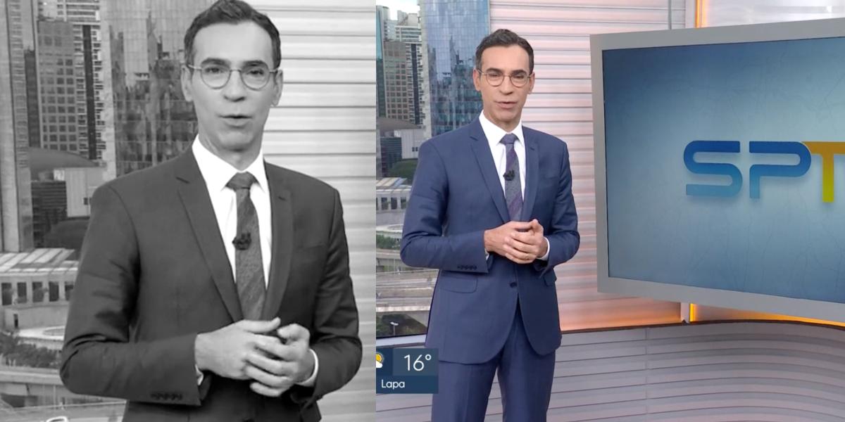 César Tralli ao vivo na Globo (Foto: Montagem)