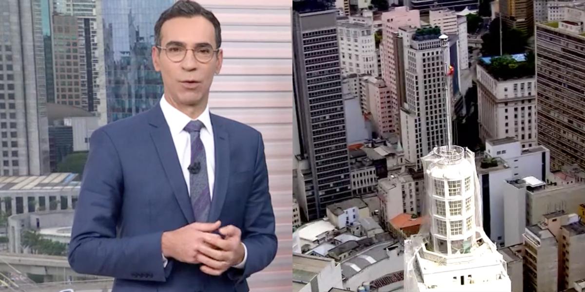 Jornalista se espanta ao vivo no SP1, da Globo (Foto: Montagem)