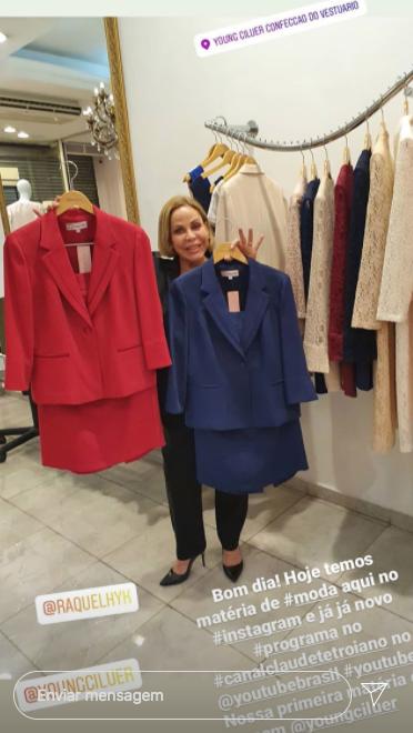 Stories de Claudete vendendo roupas (Foto: Reprodução)