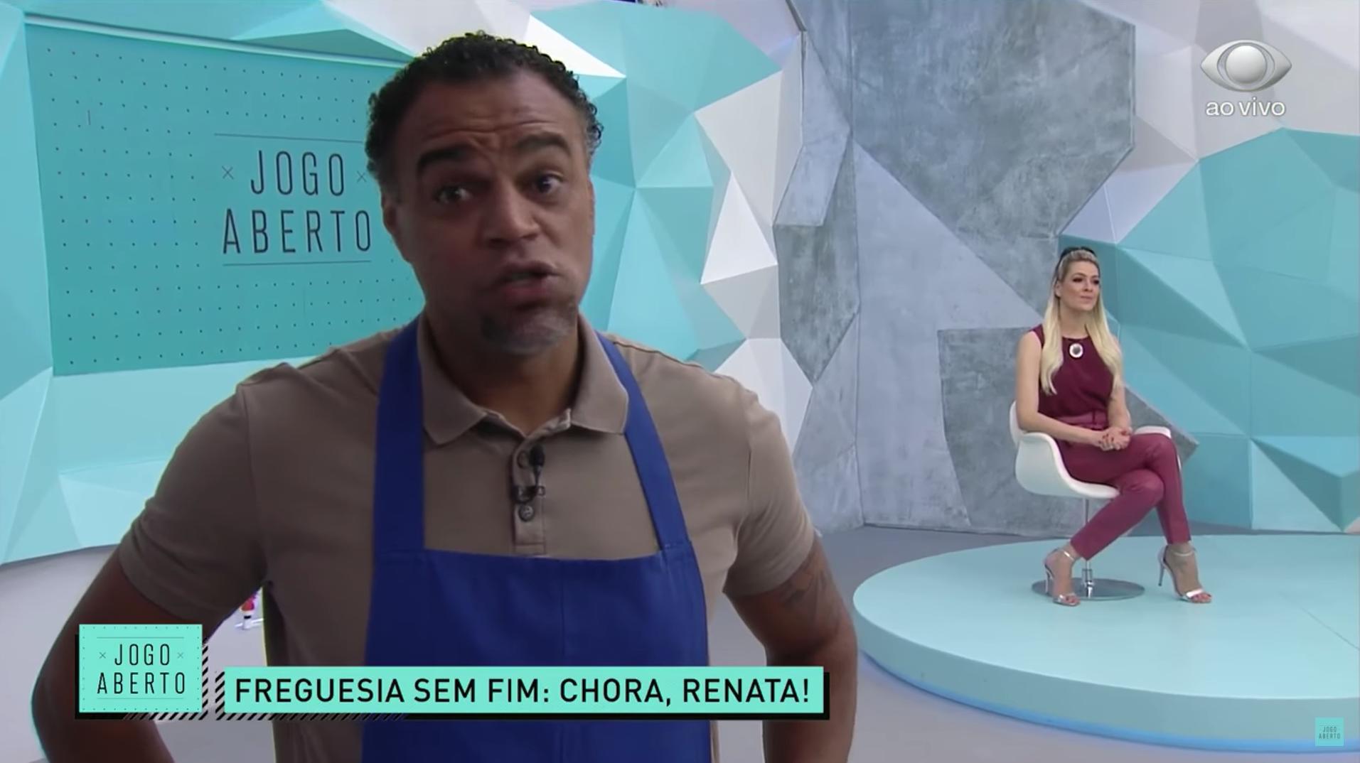 Renata Fan é zoada por Denílson no Jogo Aberto (Foto: Reprodução)
