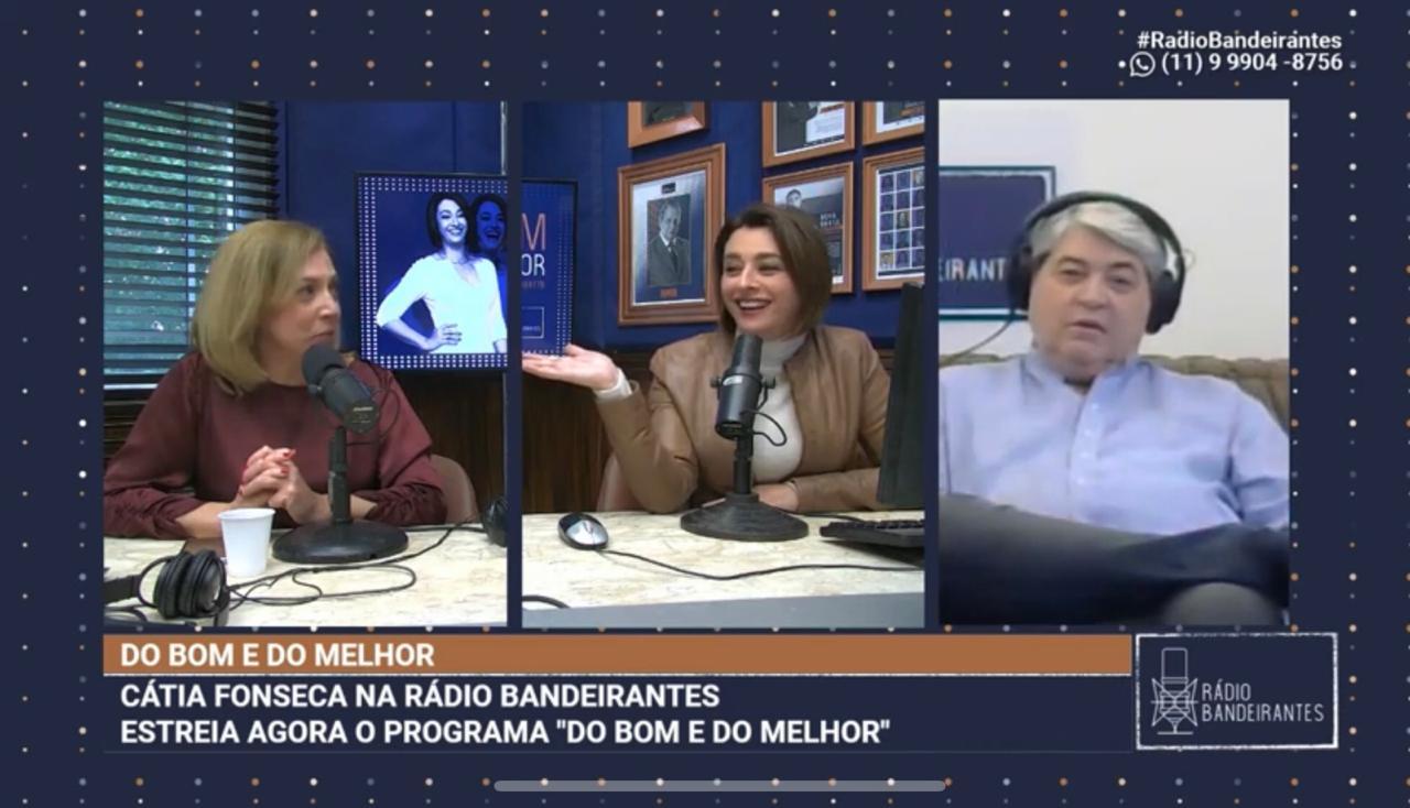 Cátia Fonseca convidou o apresentador para sua estreia na Rádio Bandeirantes (Foto: Reprodução)