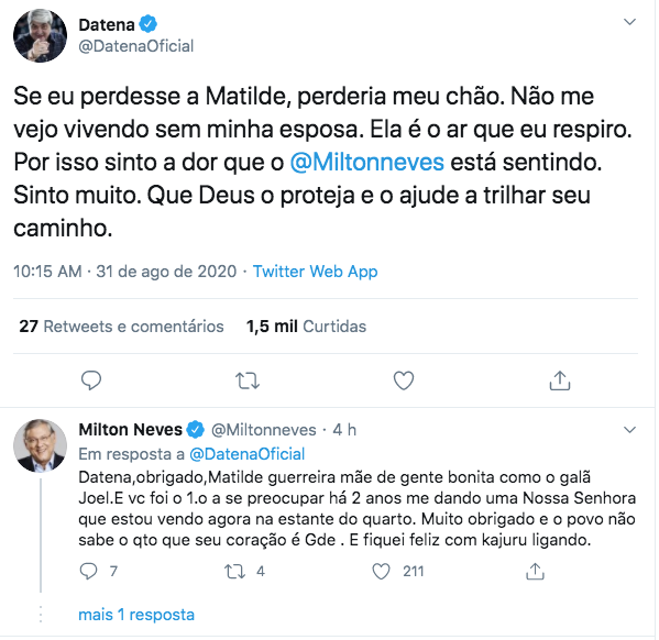 Datena presta solidariedade a Milton Neves (Foto: Reprodução)