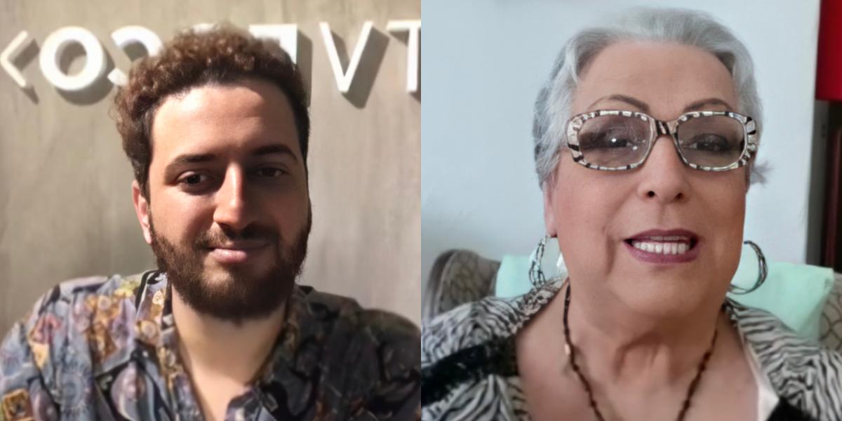 Felipe Reis e Mamma Bruschetta em live no Instagram (Foto: Montagem)