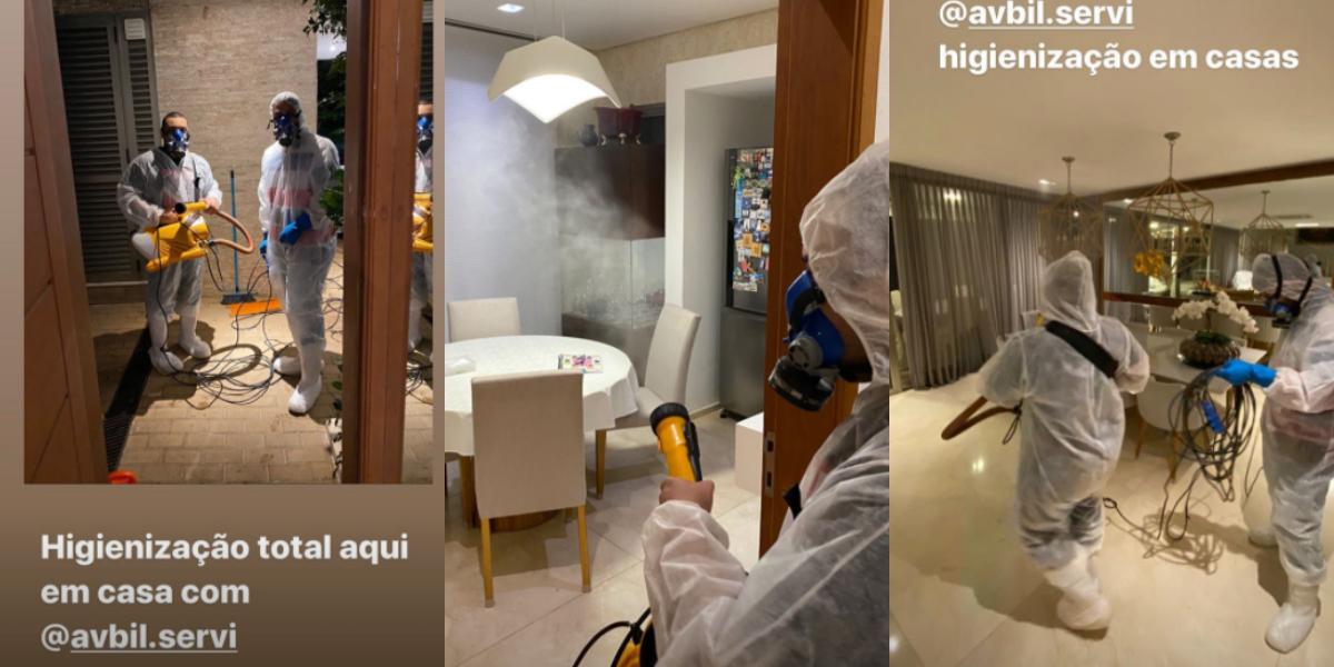 Apresentador em limpeza na casa (Foto: Montagem)