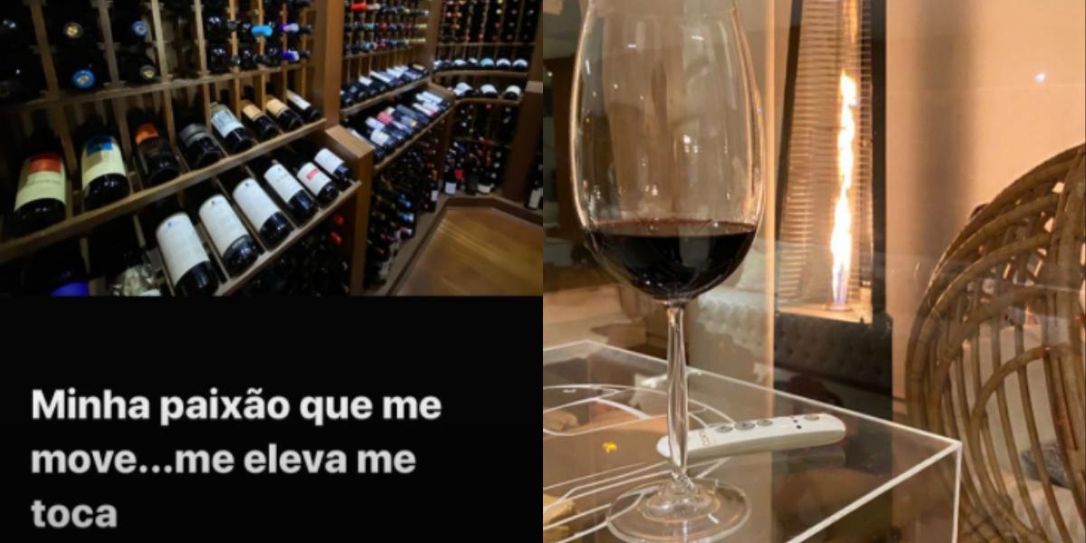 Geraldo Luís mostra seu vinho (Foto: Reprodução)