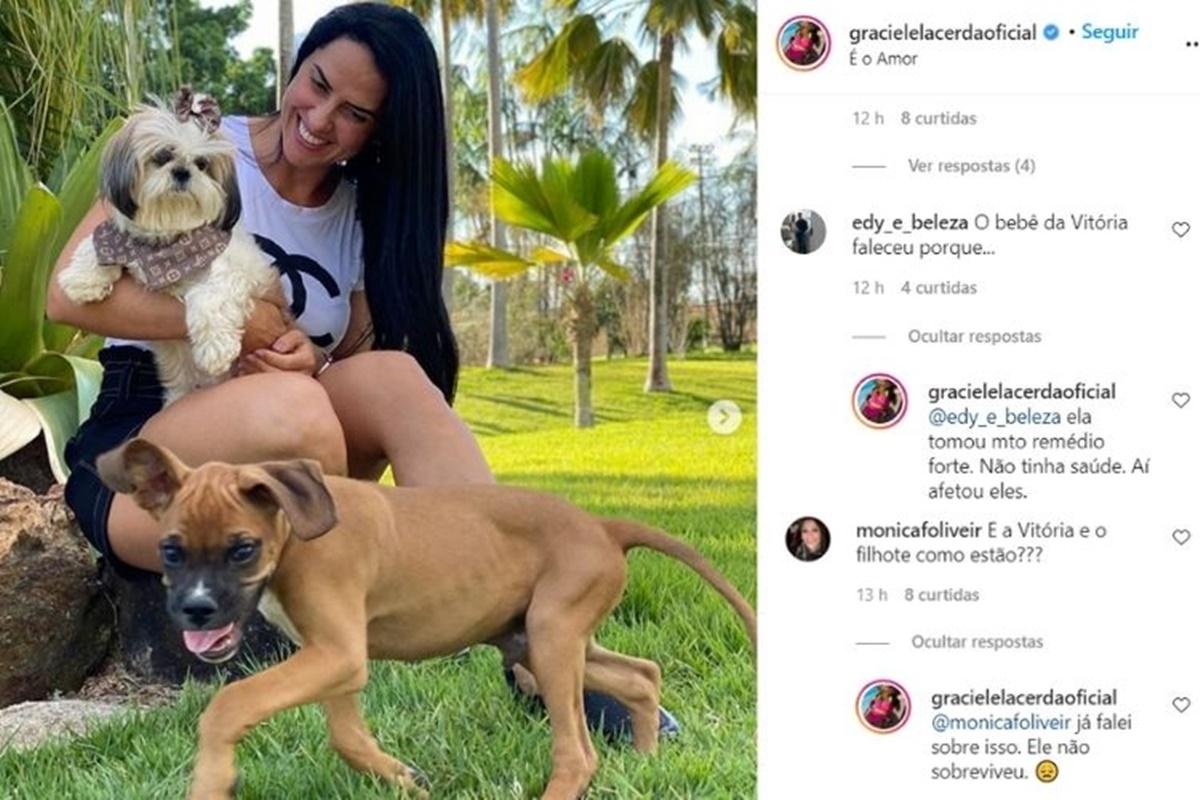 Respostas de Graciele Lacerda a comentários de seguidores (Foto: Reprodução)