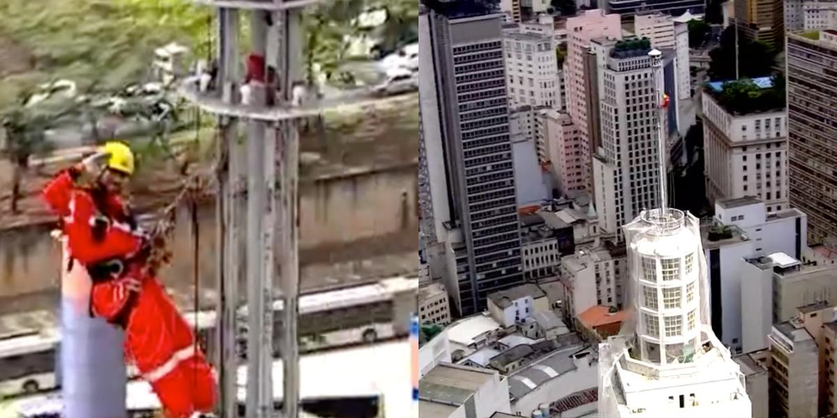 César Tralli mostra homem no topo de edifício em São Paulo (Foto: Montagem)