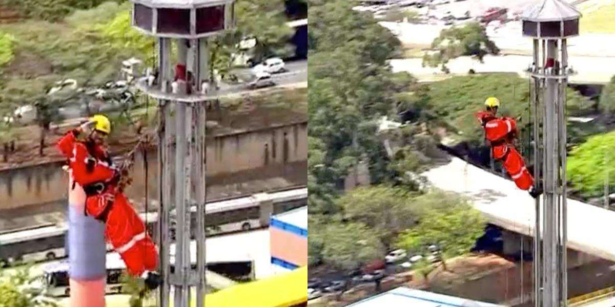 Homen no topo do prédio acena para helicóptero ao vivo na Globo (Foto: Montagem)