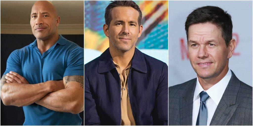 The Rock, Ryan Reynolds e Mark Wahlberg são os três atores mais bem pagos do mundo. (Foto: Montagem/Divulgação)