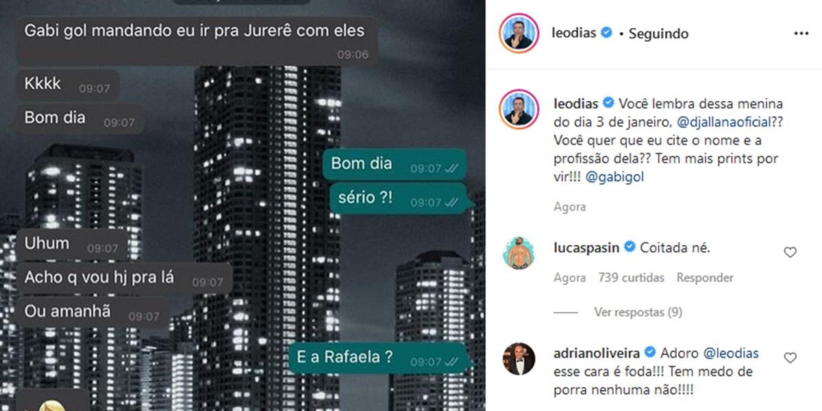 Publicação de Leo Dias expondo conversa com amante de Gabigol (Imagem: Reprodução)