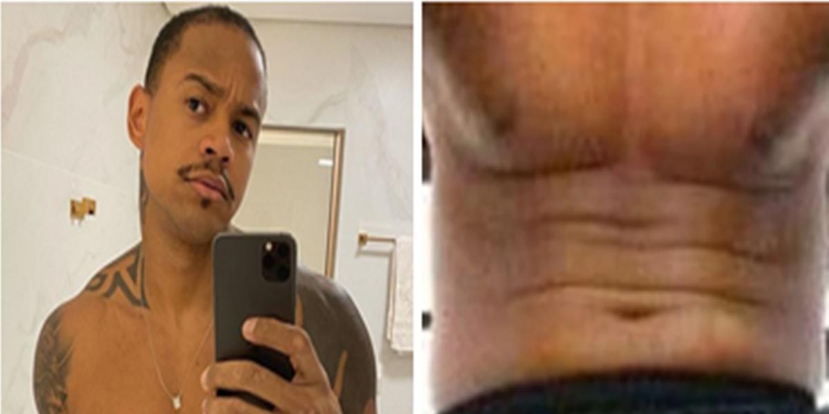 Roupa: Léo Santana ficou com o corpo todo marcado em foto (Imagem: Montagem/TV Foco)