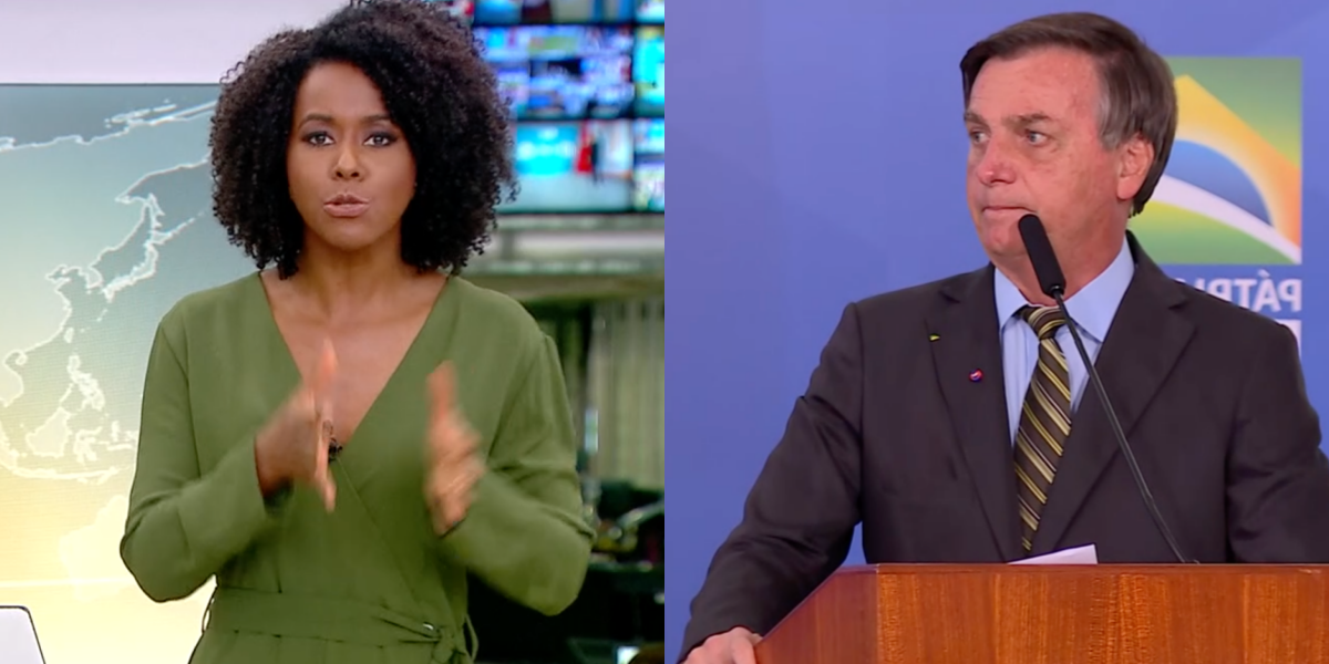 Maju Coutinho fala sobre Jair Bolsonaro ao vivo na Globo (Foto: Montagem)