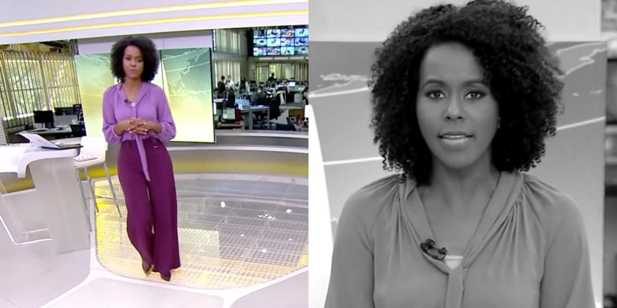 Maju Coutinho apresenta o Jornal Hoje, na TV Globo (Foto: Montagem)