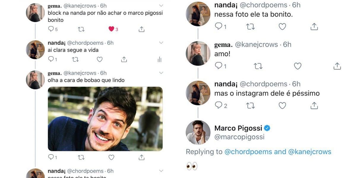 Marco Pigossi flagra internautas (Foto: Reprodução/Twitter)