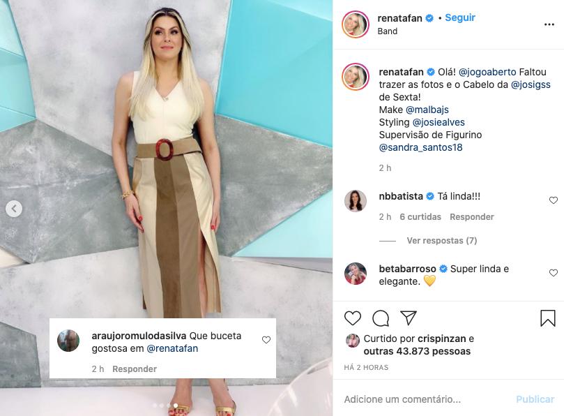 Renata Fan recebe comentário em foto no seu Instagram (Foto: Reprodução)