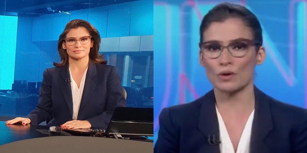 Renata Vasconcellos na bancada do Jornal Nacional (Foto: Reprodução / TV Globo)