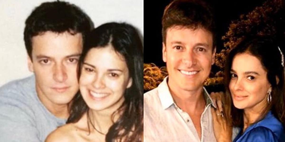 Rodrigo Faro, antes e depois, ao lado da esposa (Foto: Montagem)