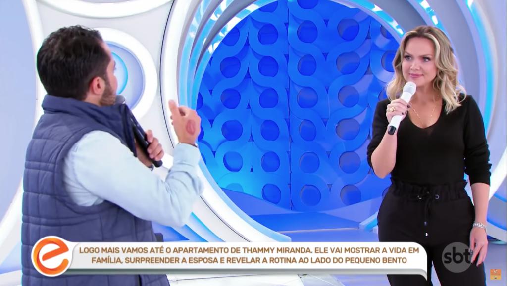 Thammy em conversa com a apresentadora Eliana (Foto: Reprodução)
