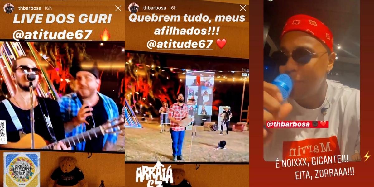 Instagram Stories de Thiaguinho com Atitude 67 e Léo Santana (Foto: Montagem)