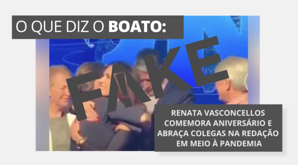 Renata Vasconcellos em Fake News escancarada pela Globo (Foto: Reprodução)
