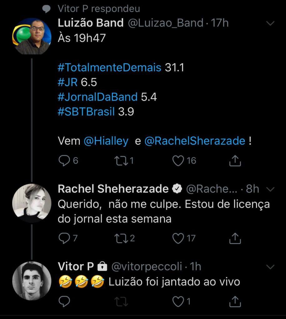 Rachel Sheherazade responde seguidor no Twitter (Foto: Reprodução)