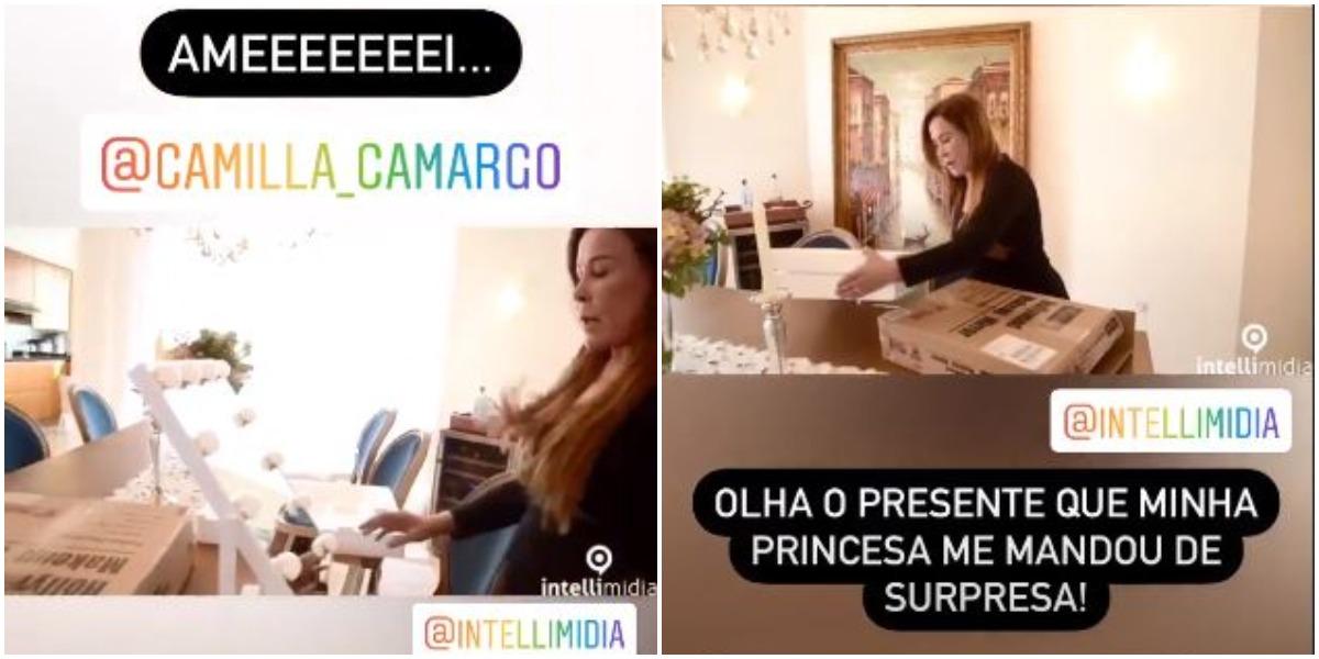 Zilu ganha presente de Camilla Camargo (Foto: Reprodução)