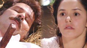 Leôncio (Leolpodo Pacheco) morto e Isaura (Bianca Rinaldi) em A Escrava Isaura; reprise ameaçou a Globo na audiência (Foto: Reprodução/Record)