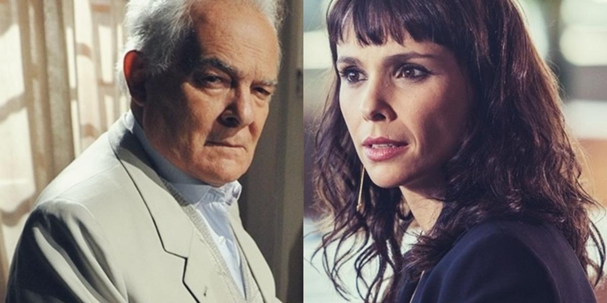 Otávio Garcia (Othon Bastos) e Irene (Débora Falabella) em A Força do Querer; os dois estão envolvidos em mistério (Foto: Reprodução/Globo/Montagem/TV Foco)