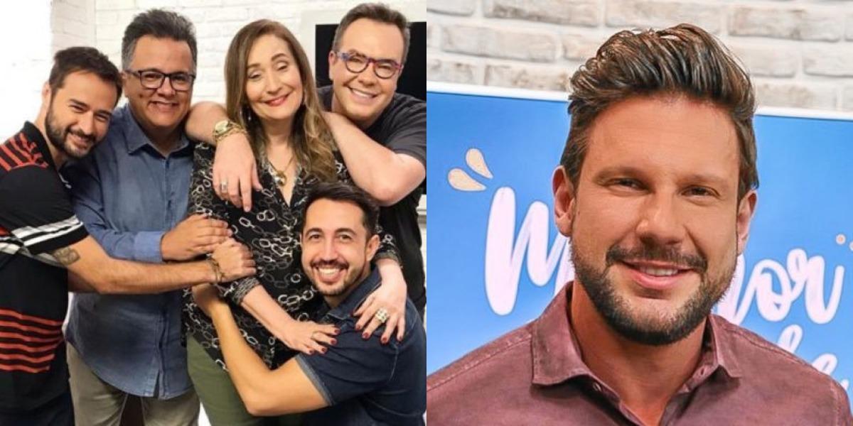 Sonia Abrão com o time de colunistas do A Tarde é Sua e Rafael Pessina, colunista de fofocas do Melhor da Tarde (Foto: Reprodução/RedeTV!/Twitter)
