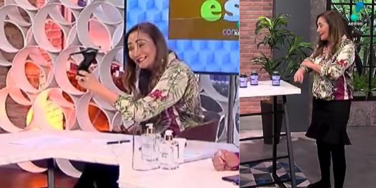 Sonia Abrão ameaçou colunista e ficou descalça no A Tarde é Sua (Foto: Reprodução/RedeTV!)