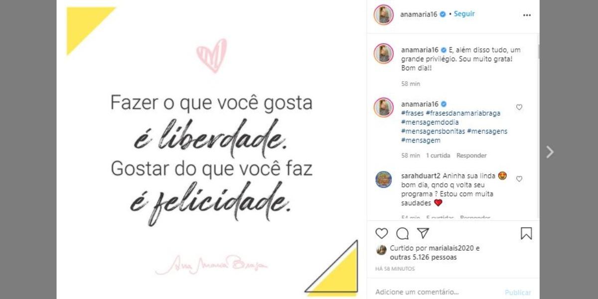 Ana Maria Braga fez publicação surpreendente nas redes sociais (Foto: Reprodução/Instagram)