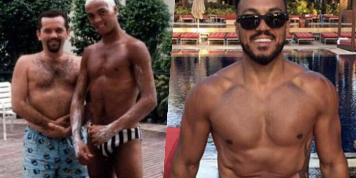 Belo, antes e depois da academia (Foto: montagem)