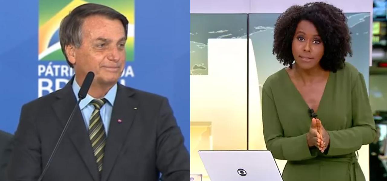 Bolsonaro responde à Globo após Maju Coutinho alfinetar no Jornal Hoje (Foto: Reprodução/Globo)