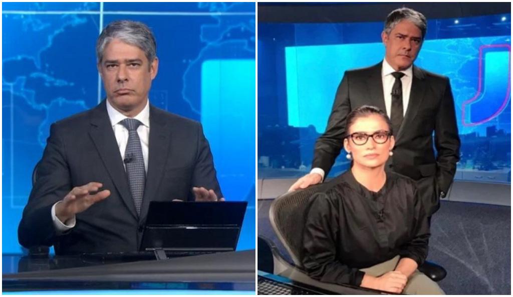 William Bonner e Renata apresentam o Jornal Nacional na Globo - Foto: Montagem