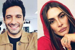 Fotomontagem dos atores Cleo e João Baldasserini em Haja Coração